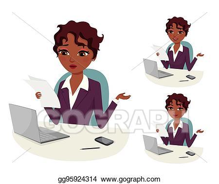 Vector art powerful woman. Professional clipart successful career