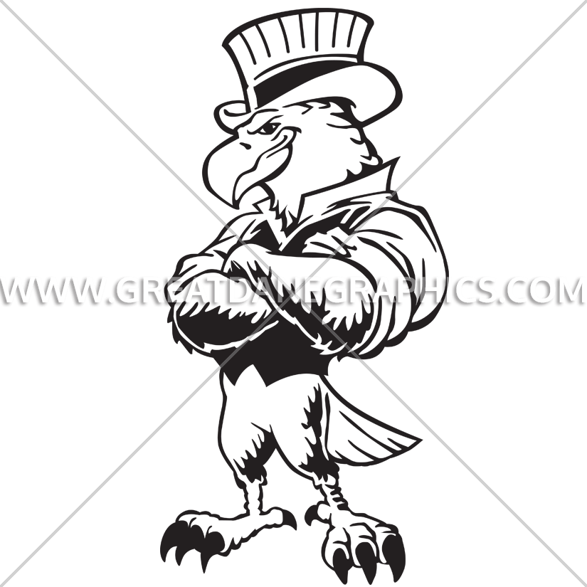 Proud clipart black and white. Uncle sam eagle production