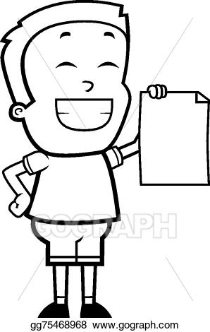 Proud clipart boy. Eps vector stock illustration
