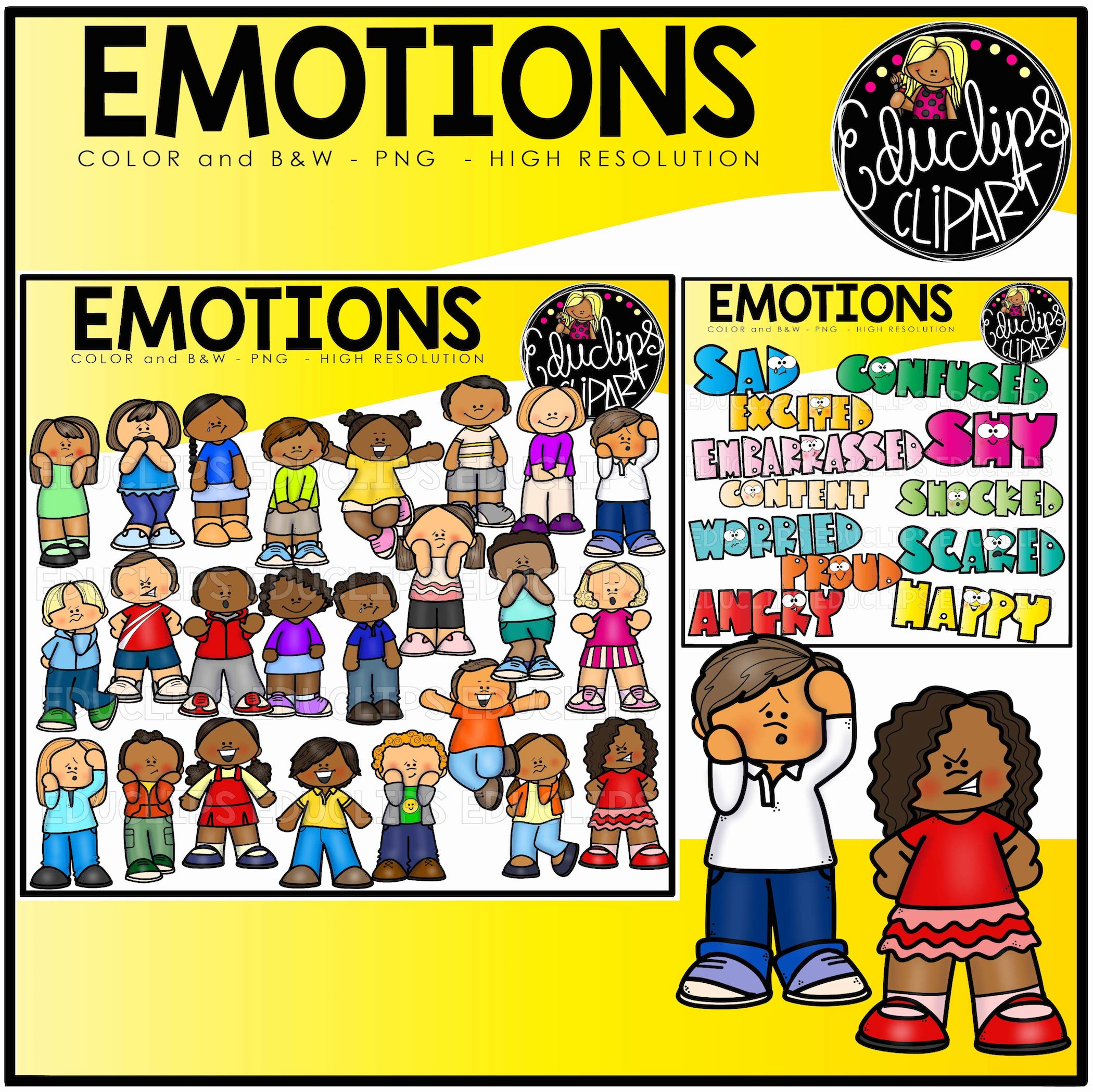 Emotions clip art bundle. Proud clipart brilliant student