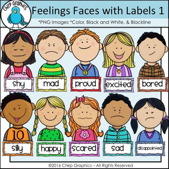Children feelings faces and. Proud clipart different emotion