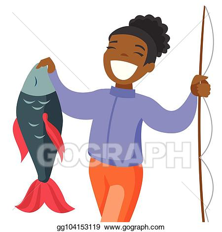 Proud clipart fisherman. Eps vector black fisherwoman