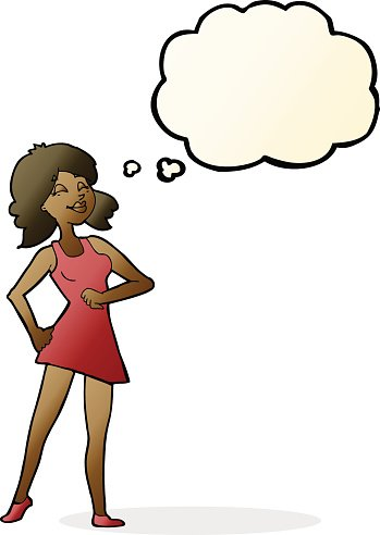 Proud clipart proud woman. Cartoon with thought bubble