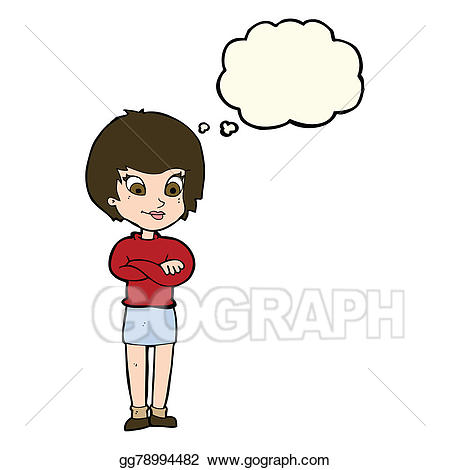 Proud clipart proud woman. Drawing cartoon with thought