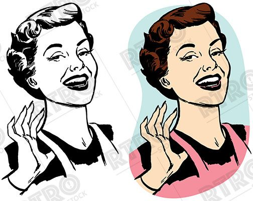 Proud clipart retro. A smiling woman looking