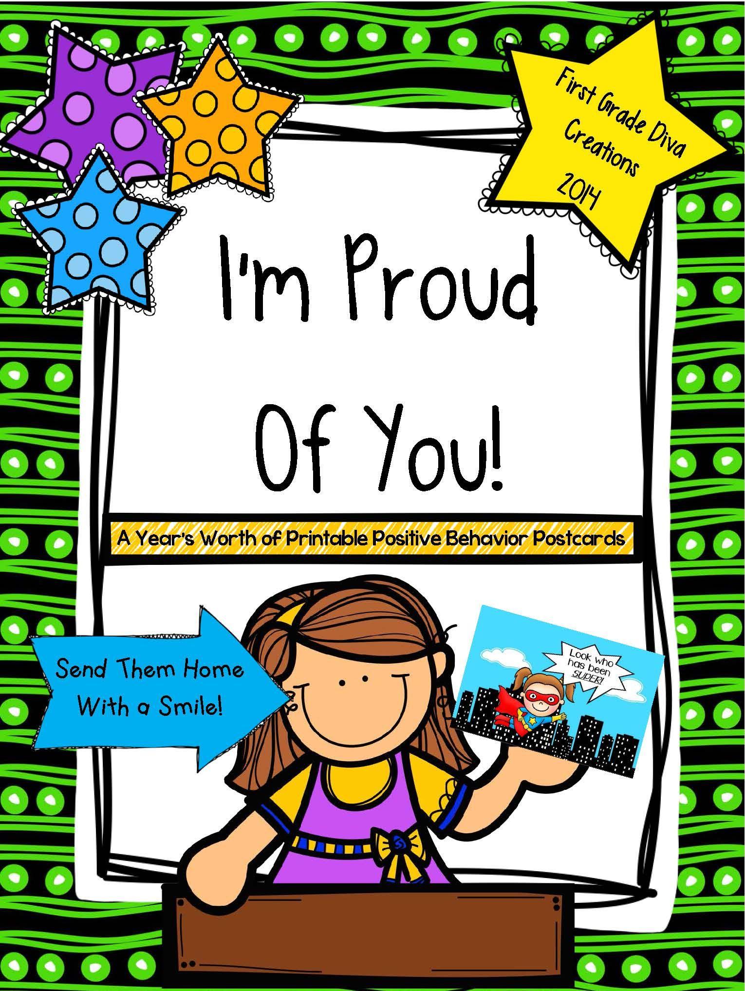 Printable positive behavior postcards. Proud clipart teacher student relationship