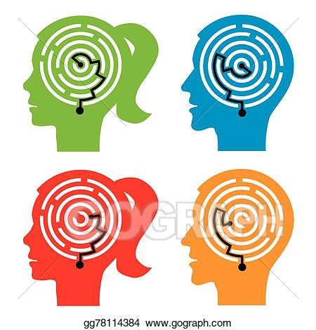 Psychology clipart anxiety brain. Vector illustration maze in