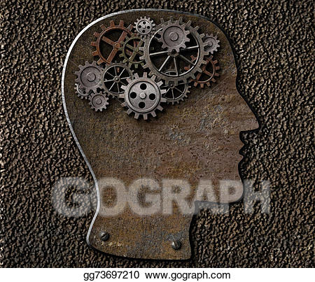 Psychology clipart brain idea. Drawing metal gears and