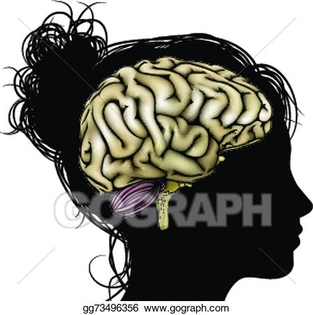 Psychology clipart cool brain. Vector woman silhouette illustration