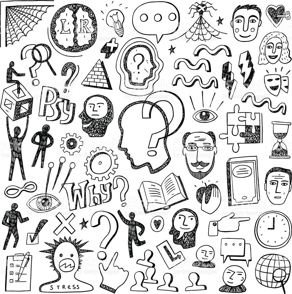 Thinking set icons in. Psychology clipart doodle