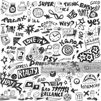 Doodles set premium clipartlogo. Psychology clipart doodle