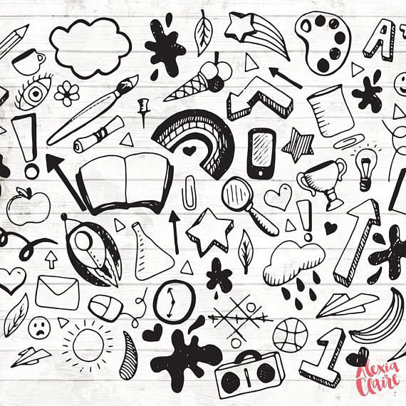 Back to school hand. Psychology clipart doodle