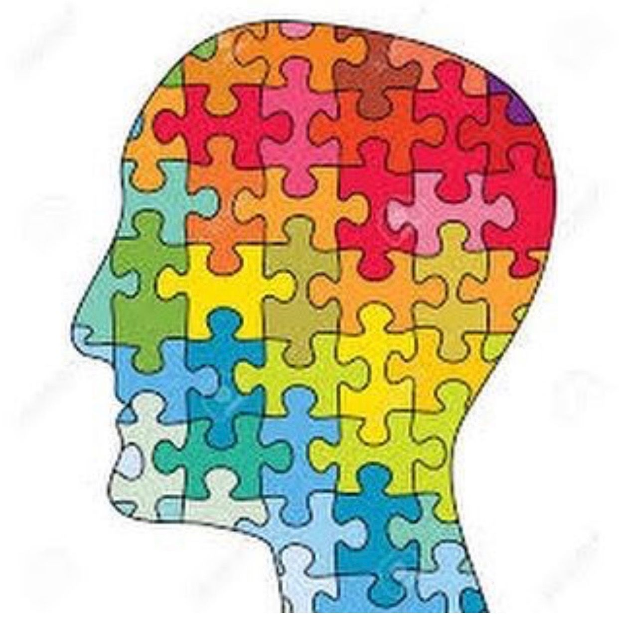 Face puzzle pieces art. Psychology clipart intellectual