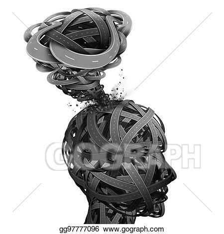 Psychology clipart mental confusion. Clip art stock illustration