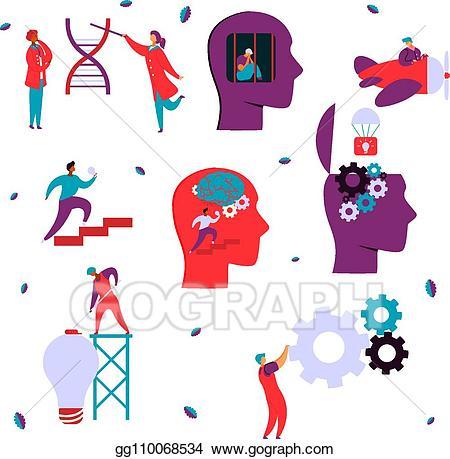 Vector modern flat characters. Psychology clipart neurology