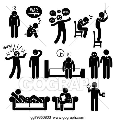 Psychology clipart psychiatric patient. Vector art mental ill