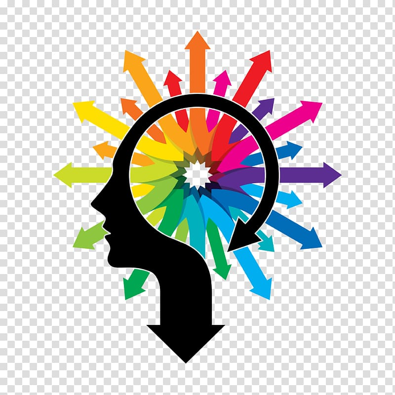 Human head with multicolored arrows illustration, Psychology ...