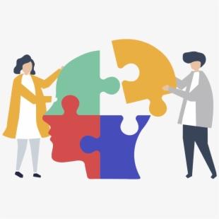 Mental brain pieces . Psychology clipart puzzle head