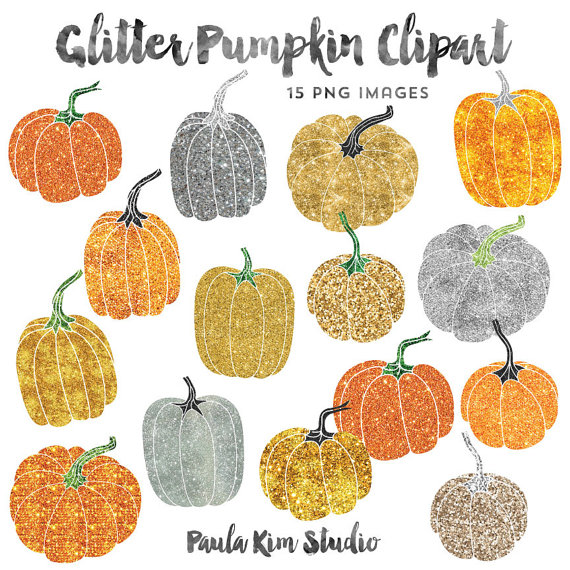 Gold glitter clip art. Pumpkin clipart