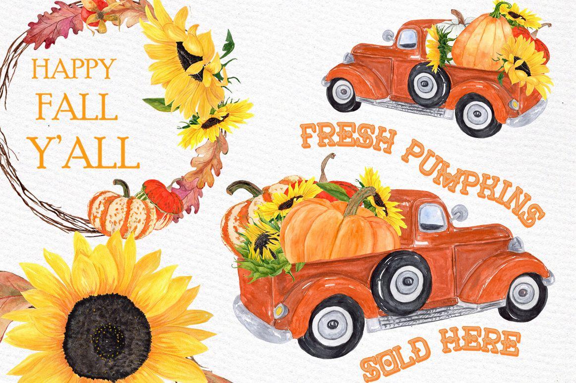 Truck with pumpkins thanksgiving. Pumpkin clipart car