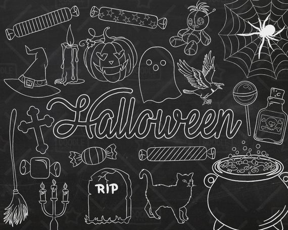 Halloween vector pack doodles. Pumpkin clipart chalkboard
