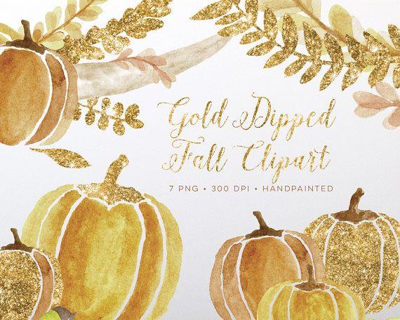 Fall watercolor . Pumpkin clipart gold glitter