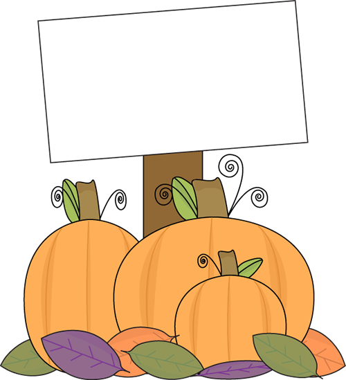 Pumpkin clipart sign. With a blank clip