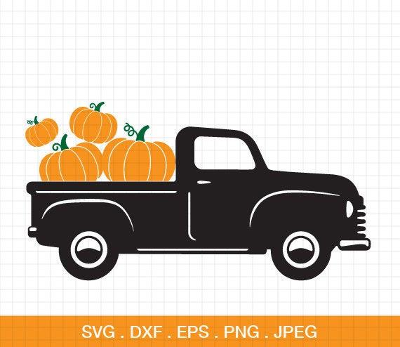 Svg old cut file. Pumpkin clipart truck