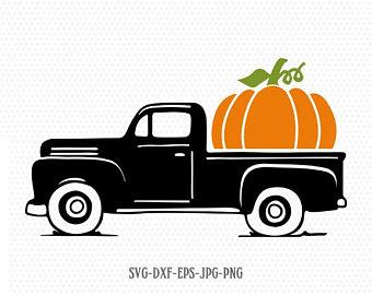 Pumpkin clipart truck. Svg etsy