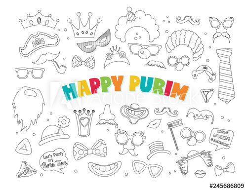 With carnival elements jewish. Purim clipart happy purim