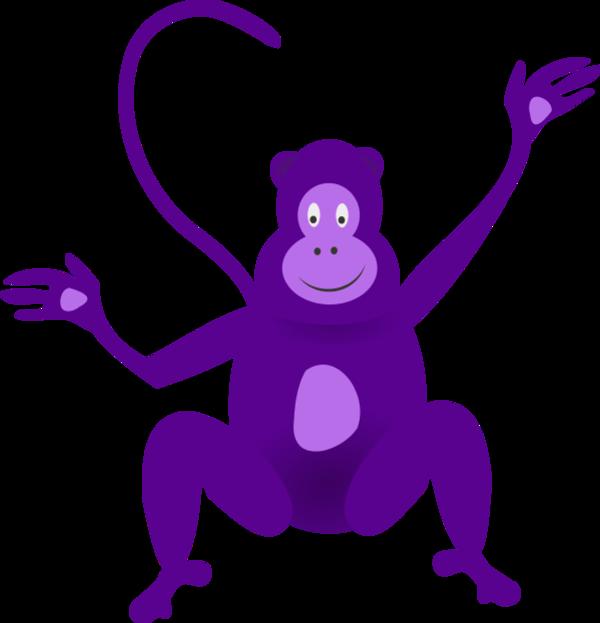 Purple clipart gorilla. Monkey animated