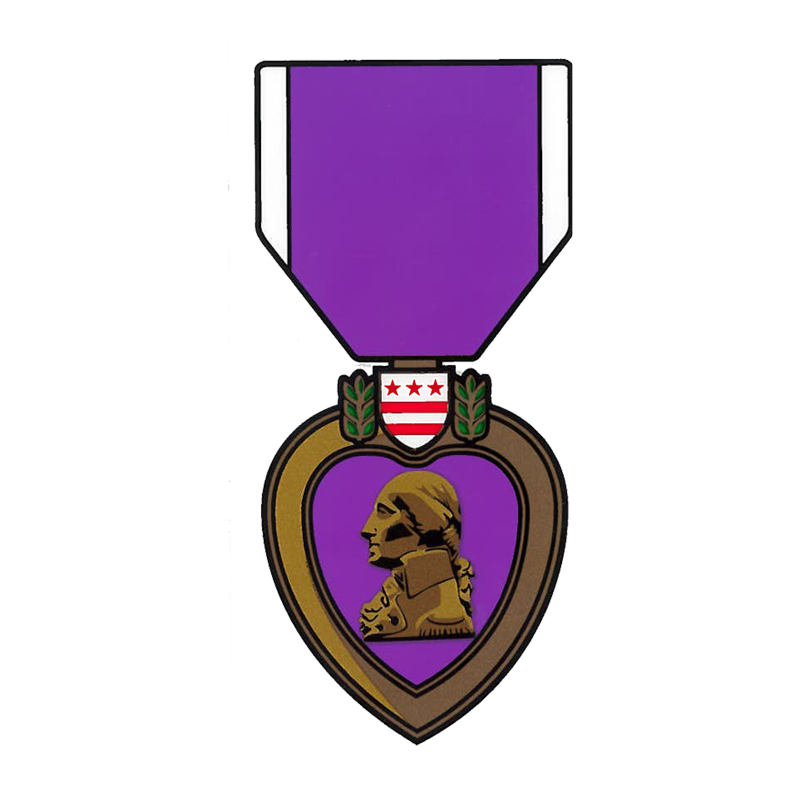 Purple clipart medal. Heart decal decals bumper