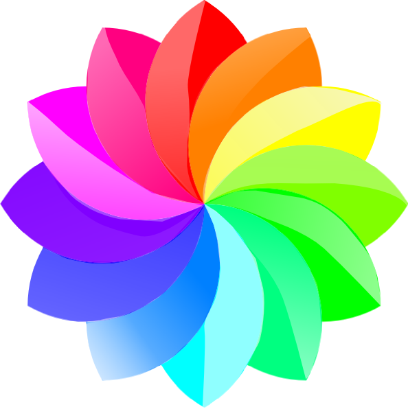 Shaded rainbow flower clip. Purple clipart octagon