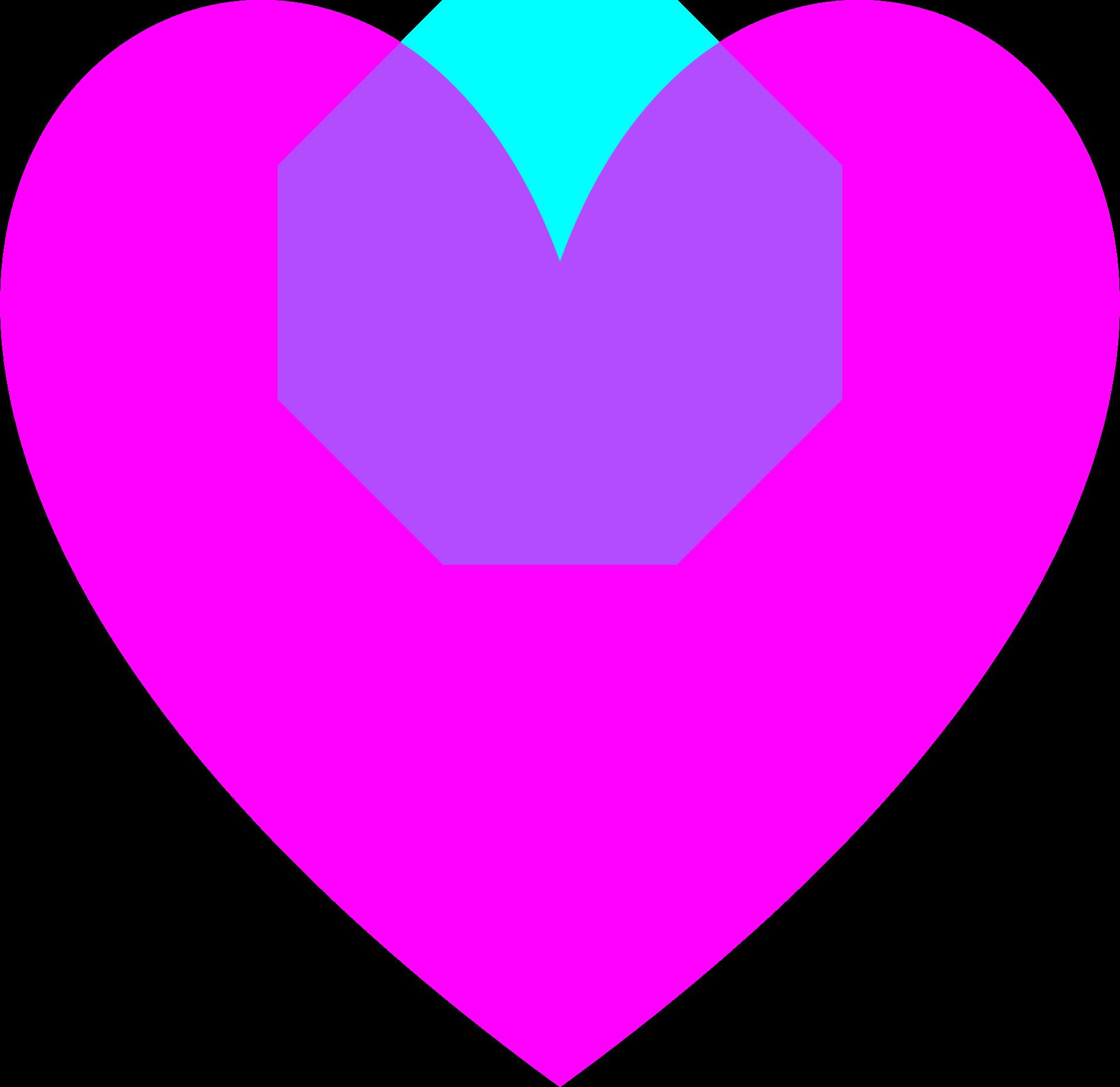 Transparent magenta loveheart big. Purple clipart octagon