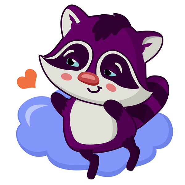 Character stickers on behance. Purple clipart raccoon