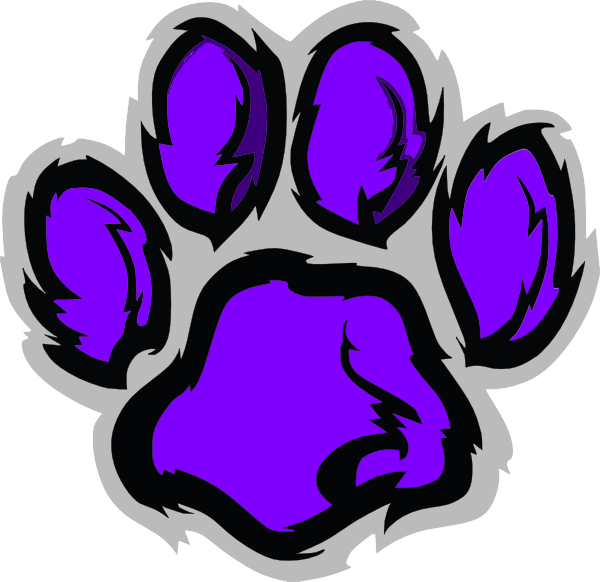 Wildcat clipart purple. Paw print clip art