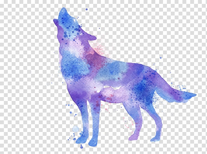 And blue wolf painting. Wolves clipart purple