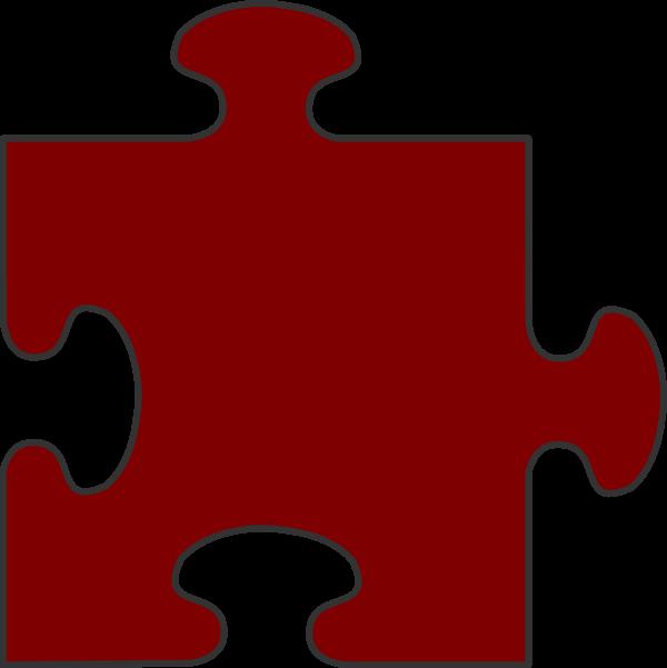 Puzzle clipart 6 piece. Maroon border top clip