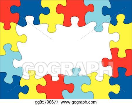 Vector illustration autism colored. Puzzle clipart aspergers