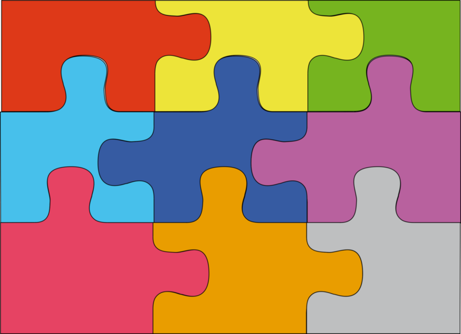 Puzzle clipart background. Yellow text