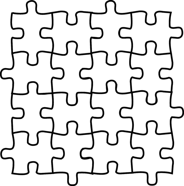 Puzzle black and white. Square clipart line art