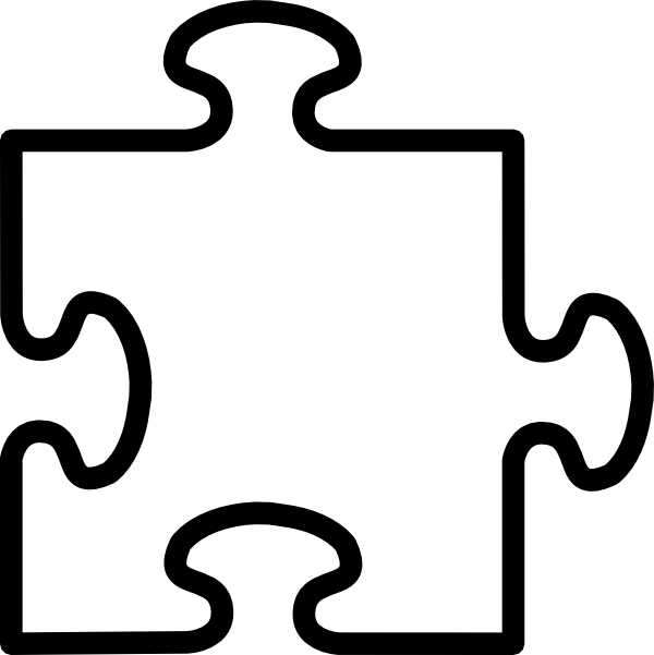 Piece clip art at. Puzzle clipart black and white