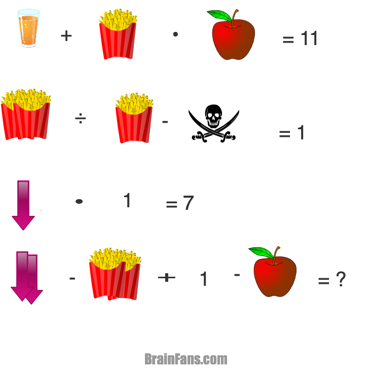 Popcornapplescullarrowjuice logic riddle brainfans. Puzzle clipart brain teasers