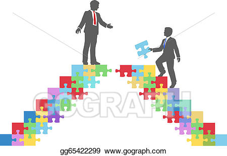Puzzle clipart bridge. Vector stock business people