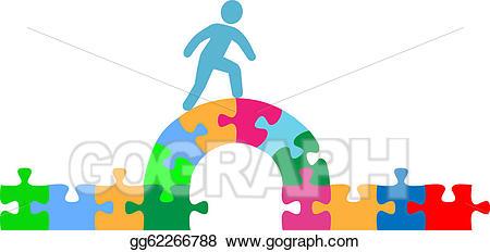 Vector illustration person walking. Puzzle clipart bridge