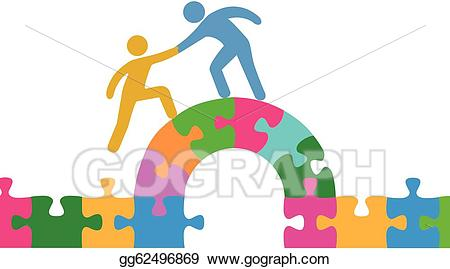 Vector people help join. Puzzle clipart bridge