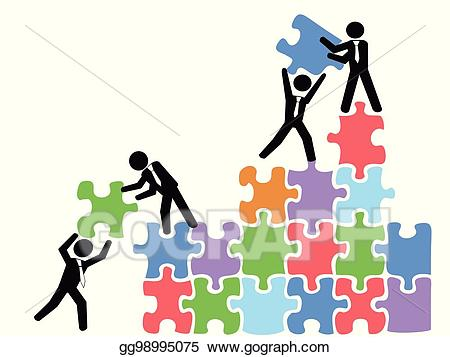 Vector teams work with. Puzzle clipart business