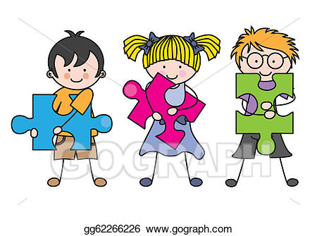 Puzzle clipart child puzzle. Vector stock with pieces