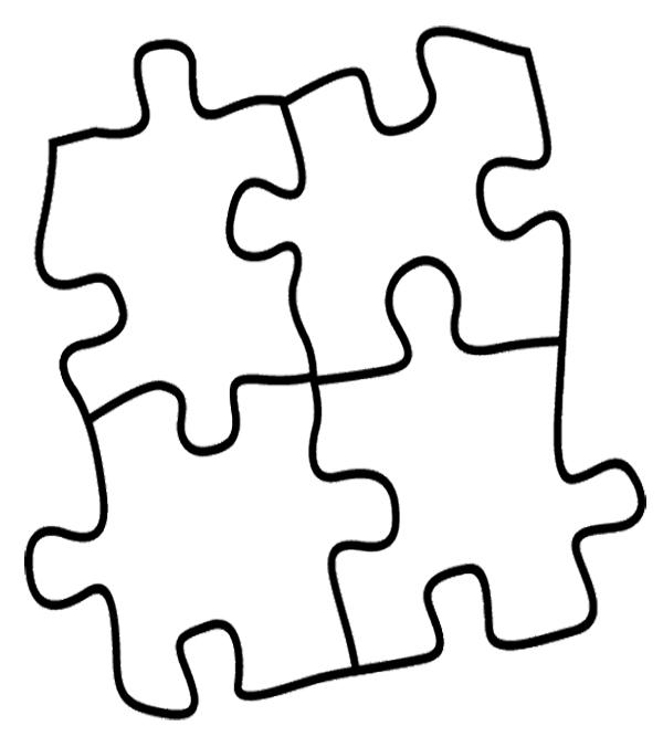 Puzzle clipart coloring page. Pieces best