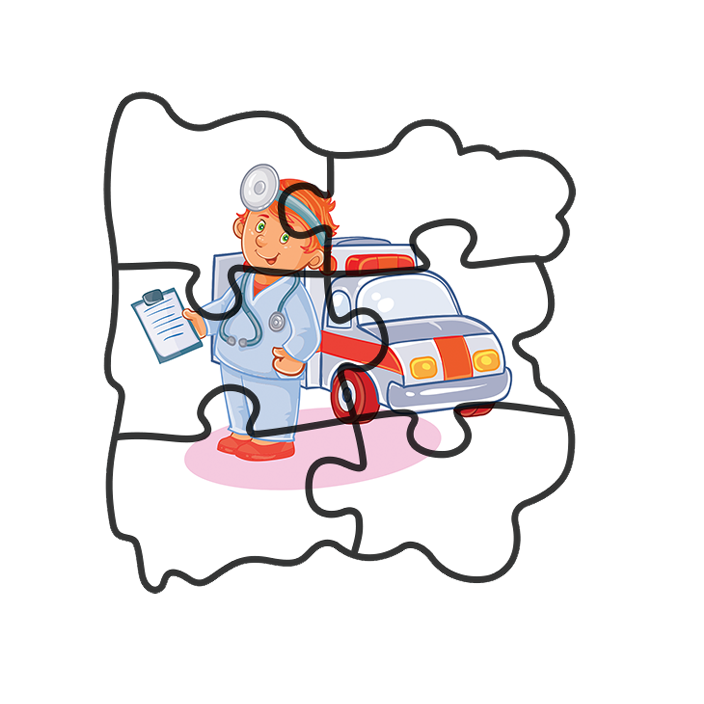Early baby professions . Puzzle clipart coordination